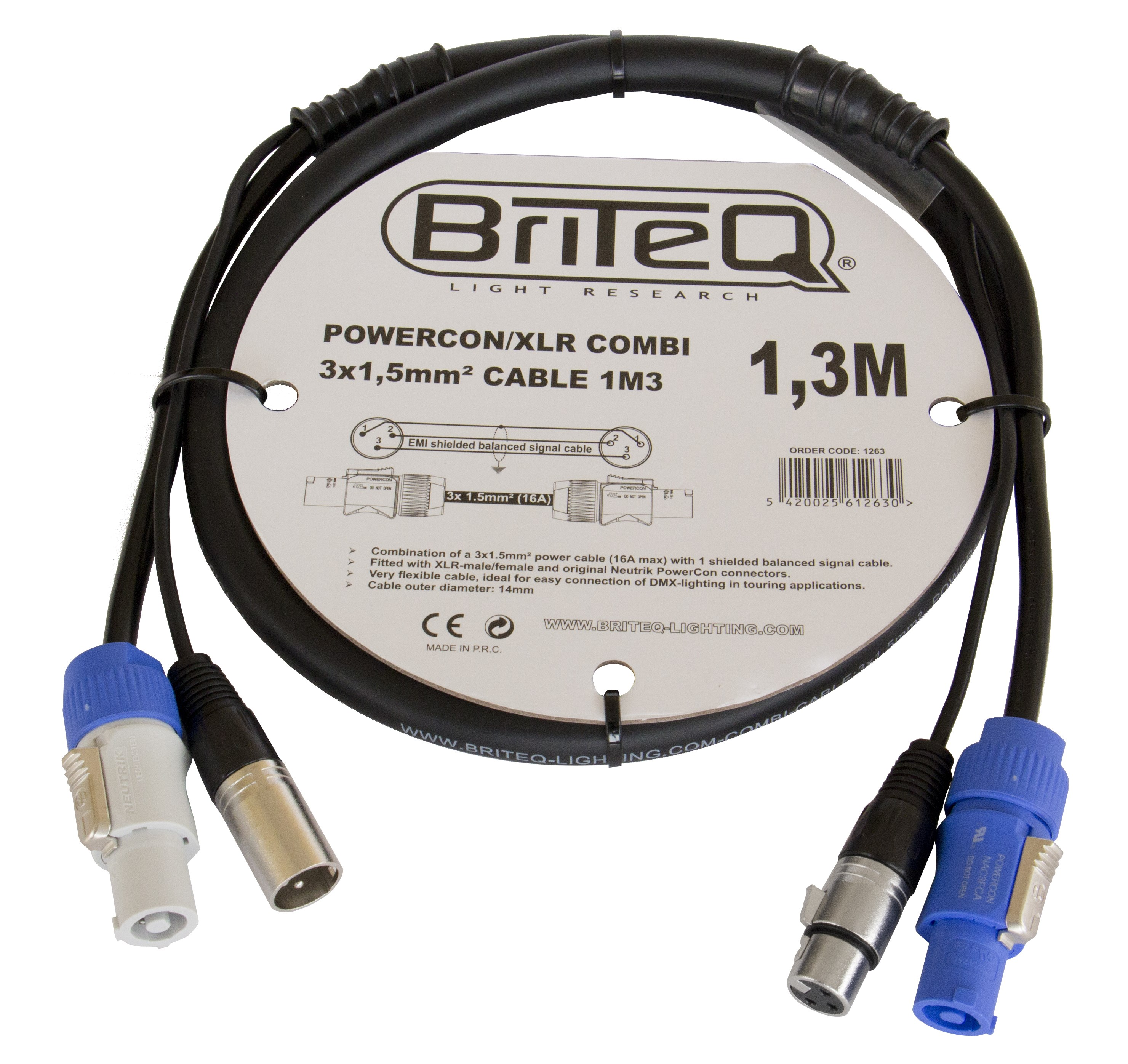 Briteq Combined Cables Powercon Xlr Combi 3x15mm Cable 1m3 Electrical Wiring Made Easy