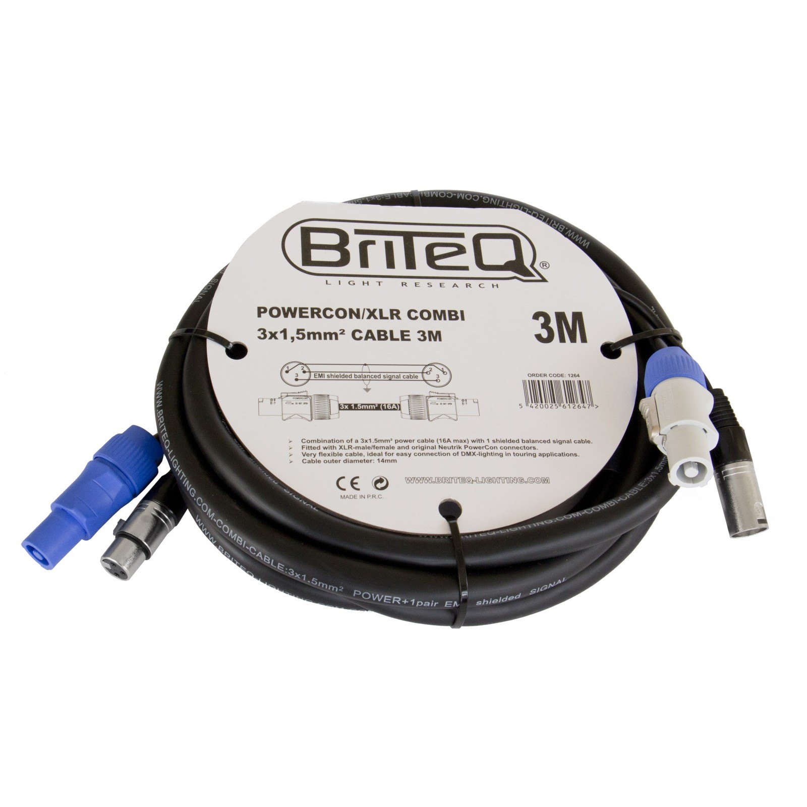 Briteq - Combined Cables - POWERCON/XLR COMBI 3x1,5mm² CABLE 3M